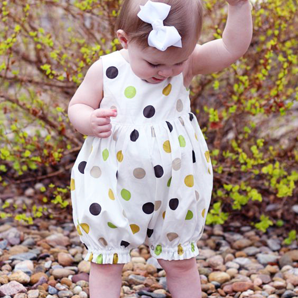 winwinstep  Baby Girls Romper Summer Sleeveless Polka Dot Printed Jumpsuit Girls Casual Clothes Outfits