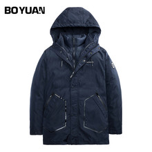 BOYUAN Brand New Fashion Parka Men Thick Warm Winter Jacket Men Liner Detachable Polyester Hooded Casual Solid Winter Coat X2786