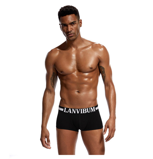 Cotton men's boxers, mid – waist underwear, big bag U convex design, boxers