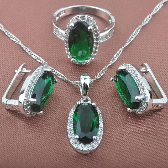 Lindo Verde Pedra Carimbado 925 de Prata das Mulheres Conjuntos de Jóias Colar Pingente Brincos Anéis Frete Grátis TS015