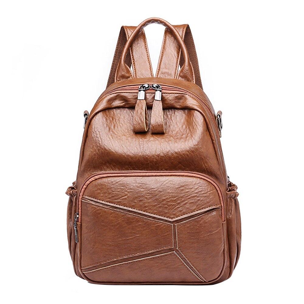 Leather Backpack Woman Brown Design Shoulder Bags Female Backpack String Bags Large Capacity School Daypack Mochila Feminina#23
