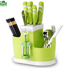 FANYI Multi-functional Kitchen Tableware Storage Barrel Creative Sub-grid Drained Basket Plastic Knife&Fork Tools free shipping