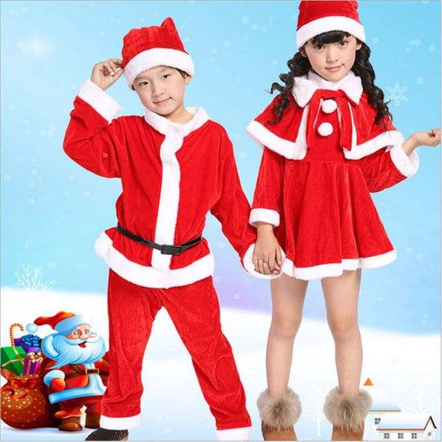 free shipping manufacture children christmas clothing kids boys girls red santa claus suits outfits christmas costumes clothes