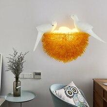 Kuş yuva LED duvar lambası çocuk yatak odası çalışma odası restoran dekorasyon yenilik duvar ışık 3D kuşlar sanat lamba