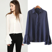 New spring autumn Women Long Flare Sleeve Pure Color Blouses Turn Down Collar Casual Woman Shirts