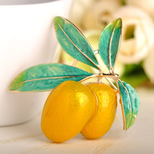 Blucome Green Fruit Olive Brooch Plum Shape Gold Color Enamel Corsages Pins Suit Coat Scarf Accessories Christmas Jewelry Gifts