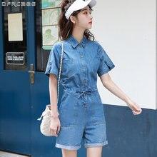 Женский джинсовый комбинезон на завязках Синий Свободный с широкими