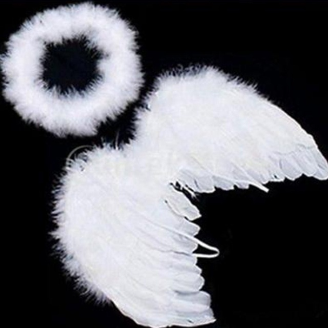 White Angel Wings Feather Birthday Party Decoration And Cute Baby Kids For Photo Prop Household