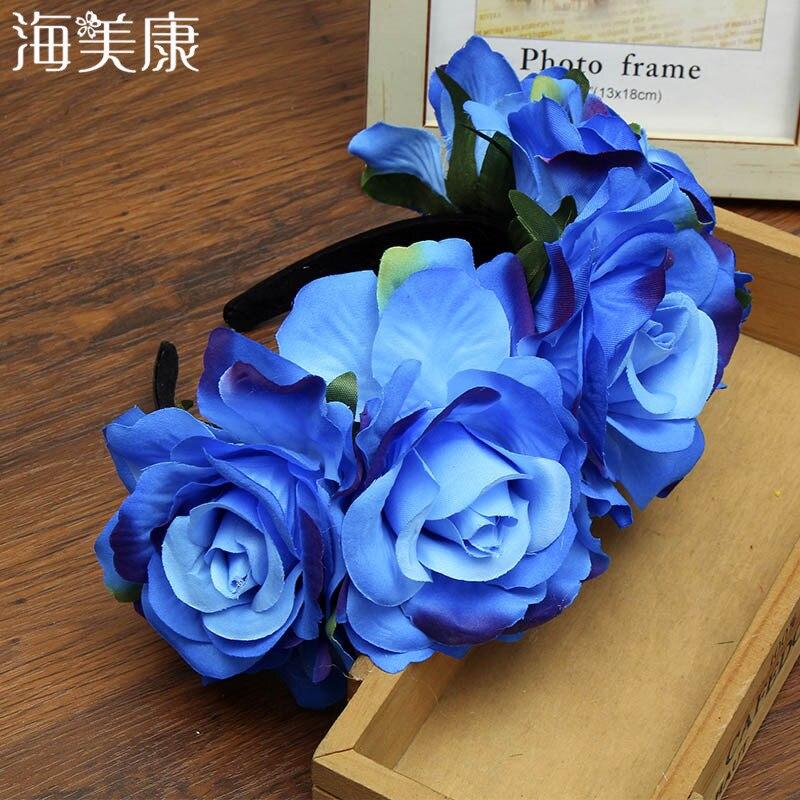 Haimeokang nueva corona de rosas y flores diadema 7 colores novias bandas de cabello para mujeres Floral chica estudio foto accesorios de pelo para la playa