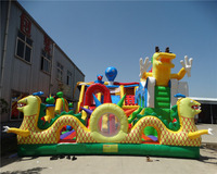 New design giant inflatable slide /commercial outdoor playground inflatable land slide with bouncer