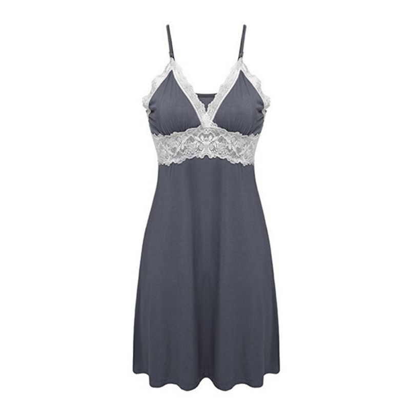 Hot Sale Women Silk Babydoll Lace Trim Patchwork Nightgowns