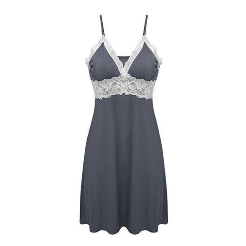 Women Silk Babydoll Lace Trim Patchwork   Nightgowns   &   Sleepshirts   Plus Size Strap Stretchy Chemise Dress Women Sleepwear