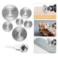 7pcs/set HSS Blades Circular Saw Discs W/ Rod Mandrel Cutter Rotary Cutting Tool for Dremel Cutoff 22 /25 /32 /35 /44 /50mm Machine Tools & Accessories