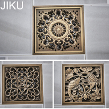 JIKU Kitchen Euro Floor Drains Antique Brass Shower Floor Drain Bathroom Deodorant Square Floor Drain Strainer Cover Grate Waste 60 10cm floor drain zipper style stainless steel 304 linear shower drain vertical long drain flange origin guangdong china