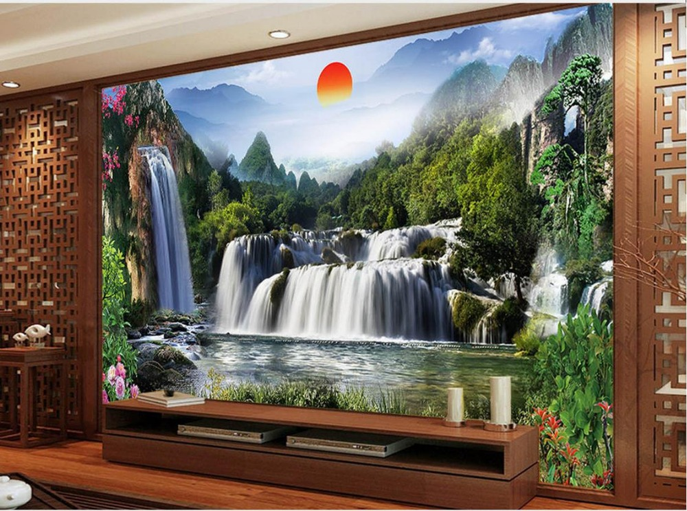 Landscape waterfall tv backdrop waterfall 3d room for 3d wallpaper for home singapore