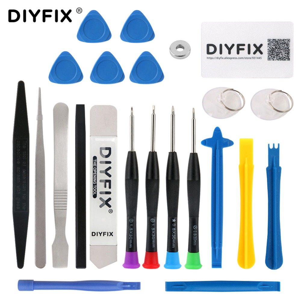 цена на DIYFIX 23 in 1 Phone Repair Tools Set Pry Opening Tool Tweezers Spudger Screwdriver Set for iPhone X 8 7 6S 6 Plus DIY Tool Kit