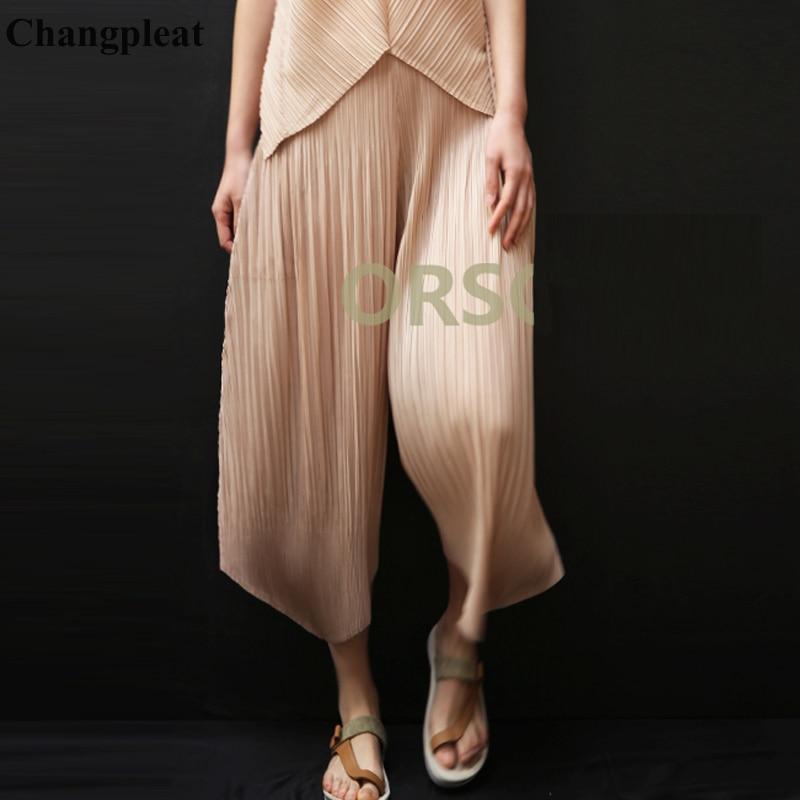 Changpleat 2019 Spring Summer New Women   Wide     leg     pants   Miyak Pleated Fashion original designer loose Elastic waist Female   Pants
