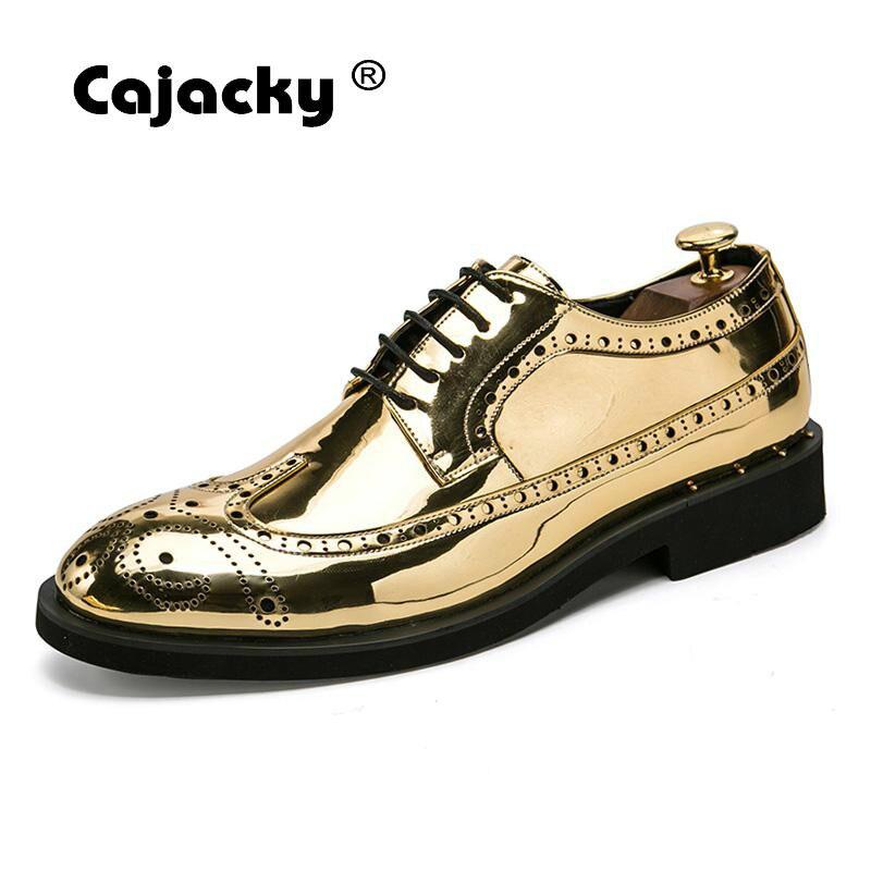 Cajacky Men Gold Silver Dress Shoes 2018 New Sequin Leather Shoes Plus Size Lace Up Derby Shoes Big Size 10.5 10 9.5 Dress Shoes empire waist lace bodycon plus size cocktail dress