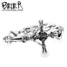 Beier Europe And United States Popular Jesus Cross Stainless steel Bracelet Punk Men Thomas Style Gift BC8-042
