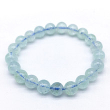 Really Color Aquamarines Women Bracelets 18-19CM 100% Nature Stone Round Bead Bracelet Not Synthetic Dyed Good Quality