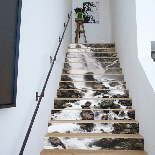 13Pcs 3D PVC DIY Waterfall Stair Wall Stickers Home Decor Rivers Mural  Theme Wallpaper Art Home