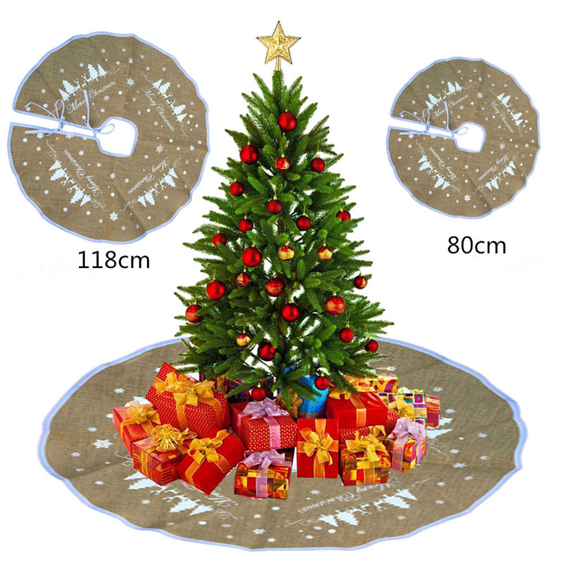merry christmas burlap christmas tree skirt 80cm118cm new year christmas tree decorations christmas decorations for home in party diy decorations from home - Burlap Christmas Decorations