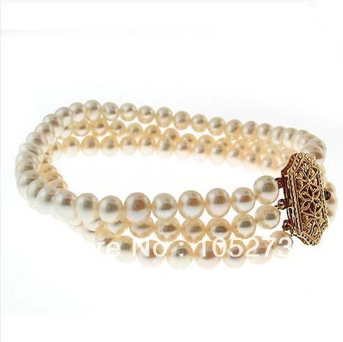 Nouveau Arriver couleur blanche perle d'eau douce naturelle Triple brin Bracelet 6-8mm 8 ''fête bijoux de mariage en gros