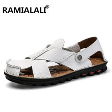 Men Sandals Leather Summer Black Brown Outdoor Sandals Slip-on Shoes Men Shoes New Men's Beach Fashion Casual Flats