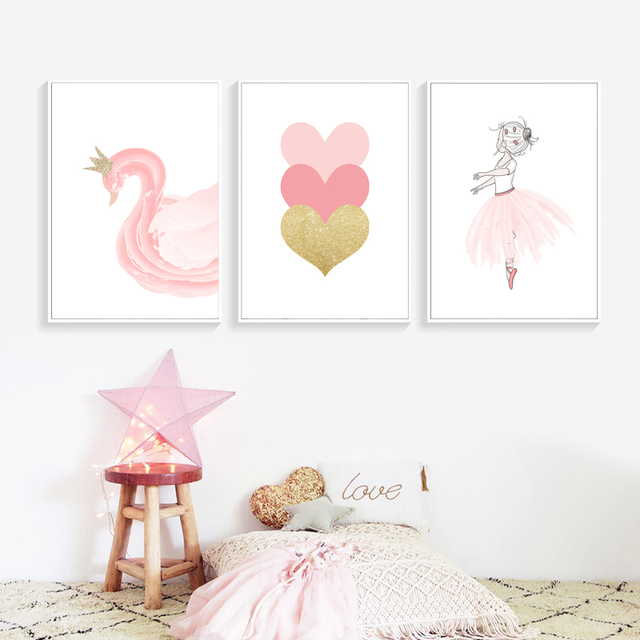 Nordic Стиль детские украшения балета плакат розового лебедя настенный художественный холст плакаты с живописью и принтами Детские интерьер для комнаты девушки без рамы