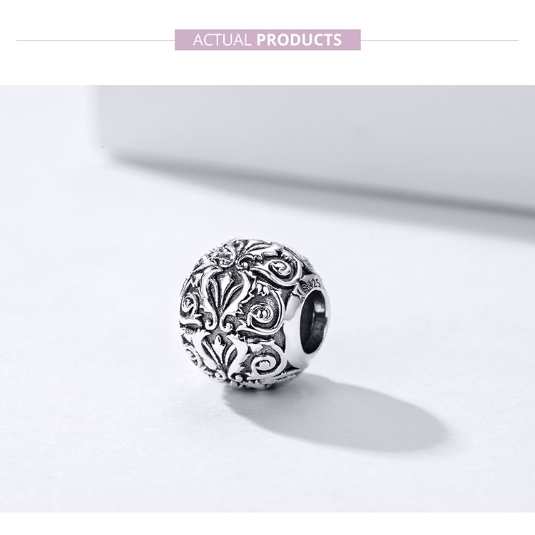 HTB1VMqoS4naK1RjSZFBq6AW7VXau BAMOER Metal Round Beads for Jewelry Making 925 Sterling Silver European Engraved Pattern Silver Charm for 3mm Bracelet SCC1179