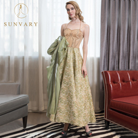 Sunvary A Line Beading Celebrity Dresses High End Satin Halter Floor Length Red Carpet Dress Spaghetti