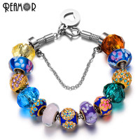 REAMOR Pan Styly Bracelet With Gold Plated European Crystal Glass Charm 316l Stainless Steel Dangles Snake