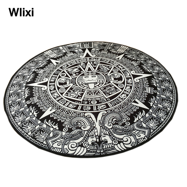 Wlixi Retro Theme Clical Party Decorative Round Rugs Living Room Doormat Mayan Culture Decor Aboriginal Totem