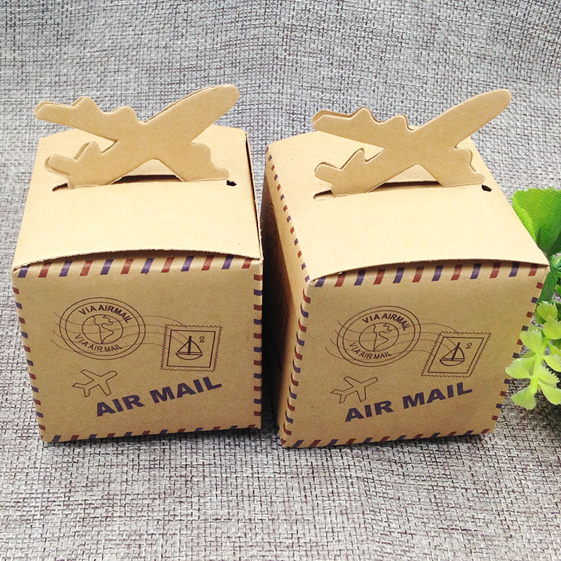 2017 new 6*6*6cm Pack of 10 pcs AIR Mail Post Gift BOX Plane Head Top Cupcake Muffin Box Holds Single Cake cook candy box