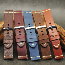 Bracelet de montre Original en cuir 20mm 22mm 24mm fait à la main Style classique Litchi bracelet de montre en cuir # D