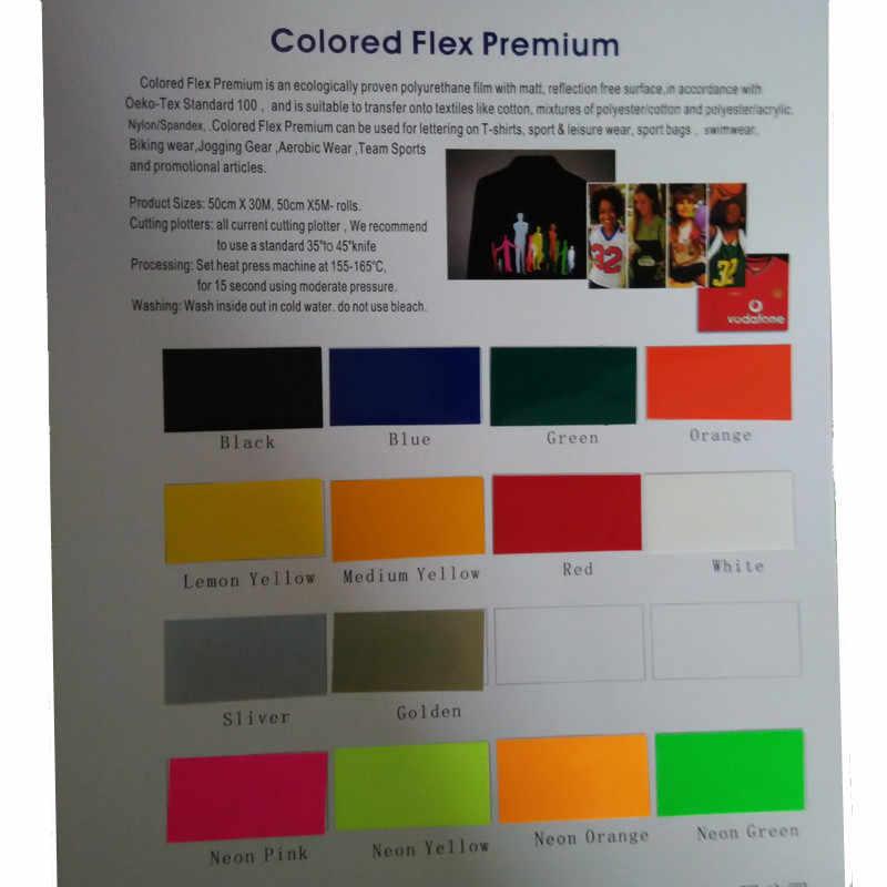 0.5x 1 M/Roll 15 Judul Warna PU Vinyl Film untuk Kaos Berkualitas Tinggi Perpindahan Panas Vinyl untuk pakaian Besi Pada Vinyl