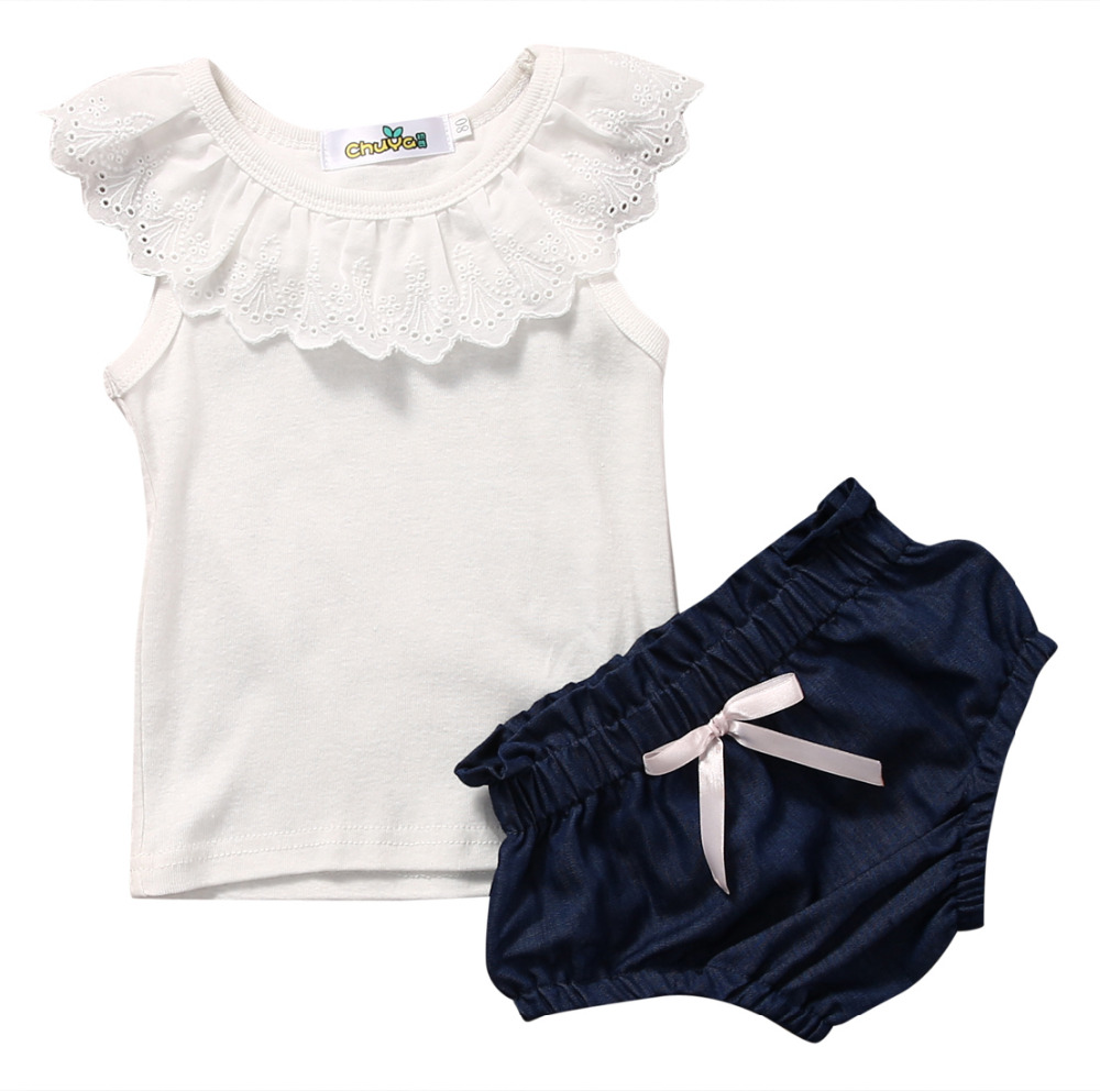 2017 New Fashion Baby Girl Clothes Summer Girls Clothes Set Sleeveless T-Shirt Tops Demnim Shorts Pant Sweaty Baby Clothes Hot hot sale 2016 kids boys girls summer tops baby t shirts fashion leaf print sleeveless kniting tee baby clothes children t shirt