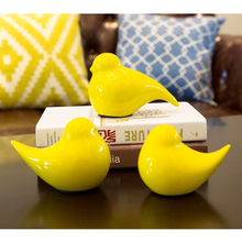 Simple fashion Multicolor 3PCS / Set ceramic Model bird Furnishing creative ceramic Craft  Home wedding Decor