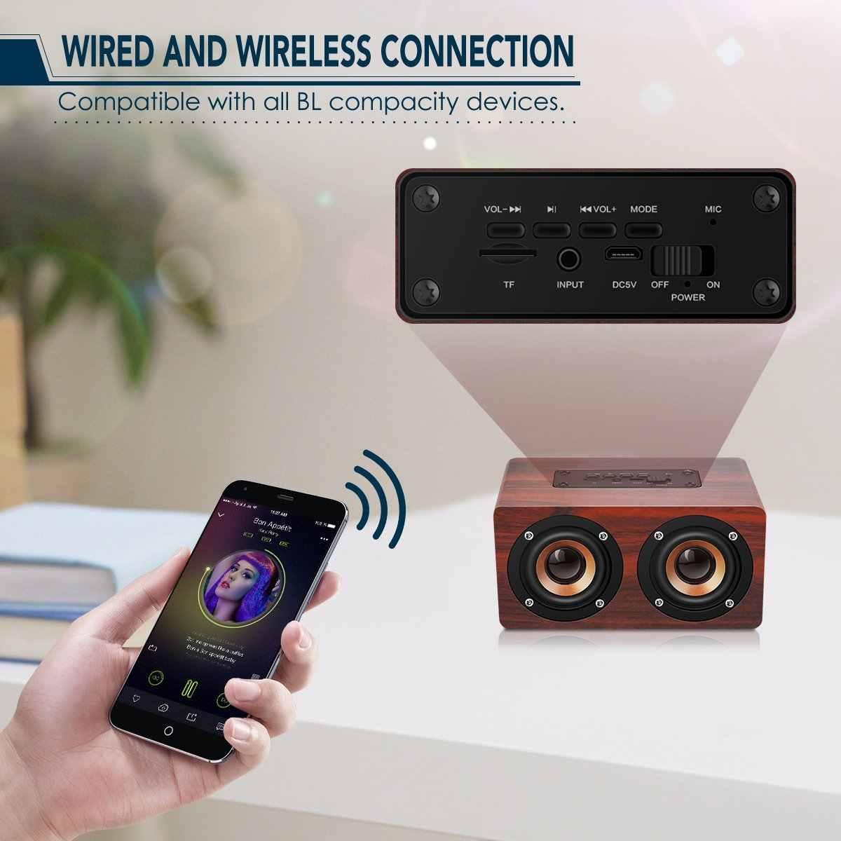 Ретро деревянный Bluetooth динамик HIFI беспроводной двойной громкий динамик s 3D объемный динамик