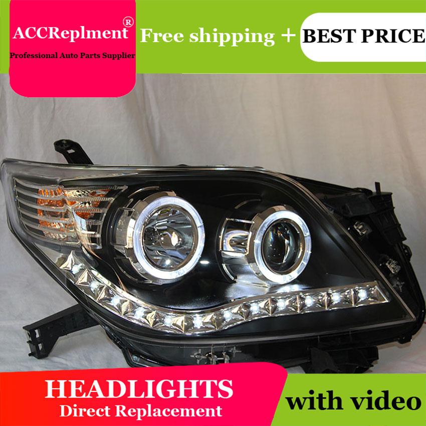 For Toyota PRADO Headlights Prado F150 LED Headlight angel eye led drl H7 hid kit low beam Bi-Xenon Lens
