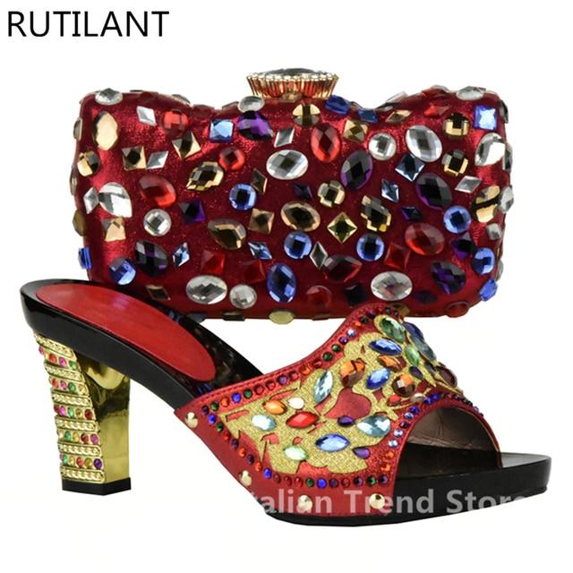 Rot Farbe Schuhe und Tasche Set Verziert mit Strass Italienischen Damen  Schuh und Tasche Set für 7b88fc40dd