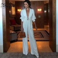 Vicente 2019 Новый Мода Фонари рукава пояса дизайн пикантные глубоким v образным вырезом Рубашка с короткими рукавами белый комбинезон знаменито