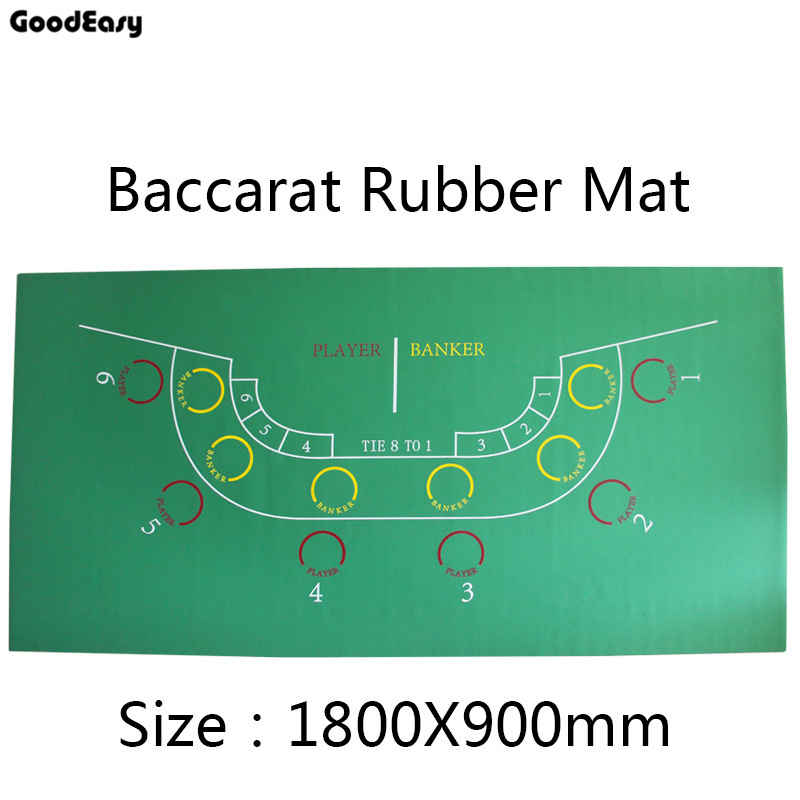 180*90cm Baccarat Rubber Texas Hold'em Casino Poker Tablecloth Green Board Game Table Mat Game Mat with 6 players High Quality 180 90cm texas hold em poker table cloth 10 players poker felt layout poker mat big poker layouts