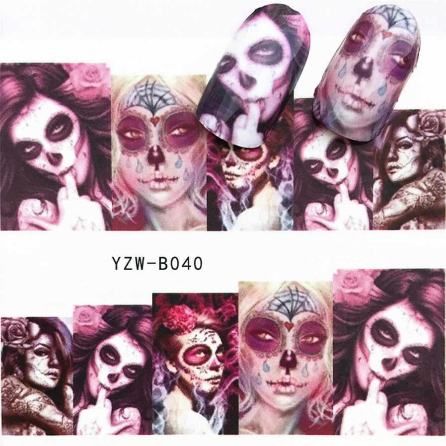 Lolede 1 Lembar Tengkorak Stiker Kuku Bunga Stiker Slider Dekorasi Nail Art Tato Manikur Wraps Alat 1018
