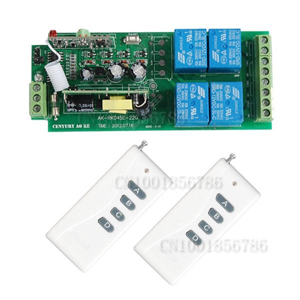 110V 220V 4CH RF Wide Voltage Wireless Remote Control Switch System + 2pcs Transmitter ac 85v 110v 220v 250v rf 1 ch wide voltage wireless remote control switch system receiver