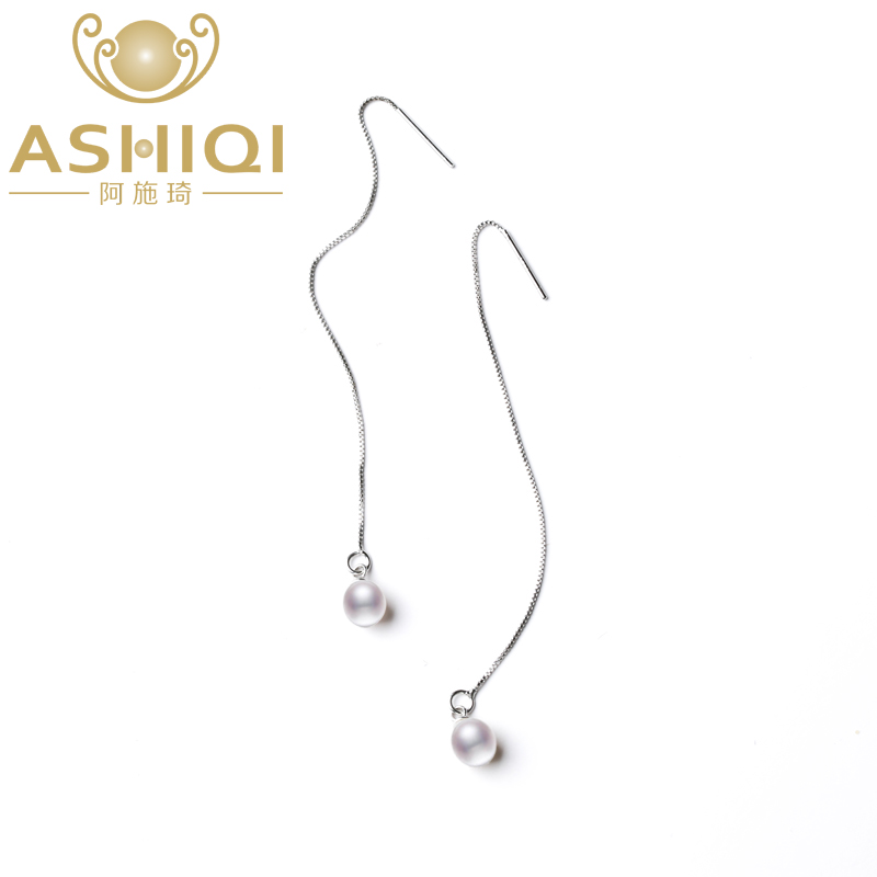 ASHIQI 925 Sterling Silver Earrings Panjang Untuk Wanita 7-8mm Perhiasan Mutiara Air Tawar Alami