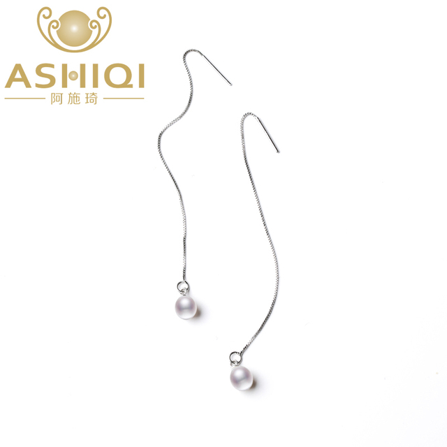 ASHIQI 925 Sterling Silver Long Earrings For Women 7-8mm Natural Freshwater Pearl Jewelry