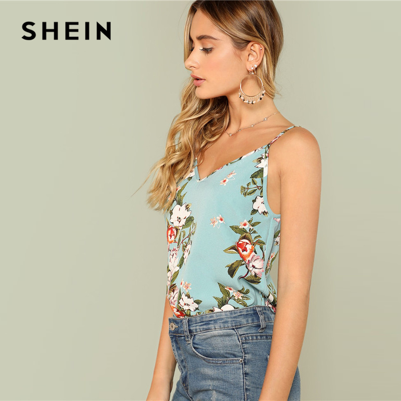 2799c0acd0d SHEIN Multicolor Floral Boho Vacation Bohemian Flower Print Summer Tops for  Women 2018 Casual Beach Camisole Cami Top -in Camis from Women s Clothing  on ...