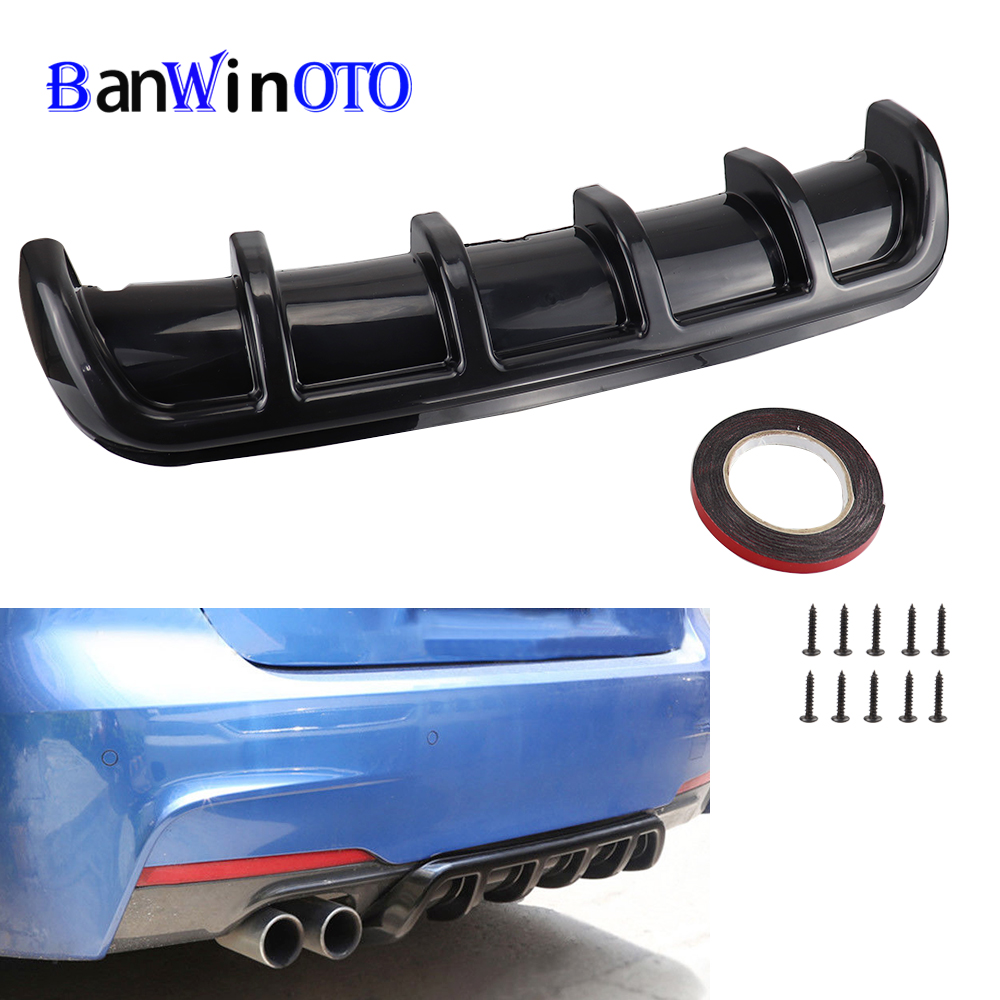 High Quality Car Spoiler Chassis Fin Shark Fin Type Bending Insert Rear Bumper Lip Diffuser Universal ABS Shark Diffuser Black