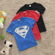 2016 New Baby Boys Short Sleeve Super Man T Shirt Boy / Kids Summer Tshirt 35F